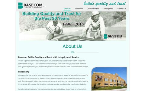 Screenshot of About Page basecominc.com - About Us | Basecom, Inc. | General Contractors – Construction Services - captured July 28, 2016