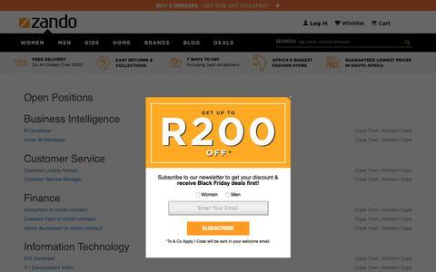 Screenshot of Jobs Page zando.co.za - Careers | Fashion Jobs | Retailer | South Africa - captured Nov. 7, 2018
