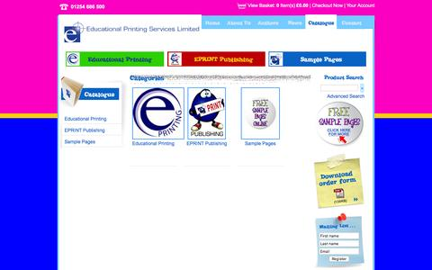 Screenshot of Products Page eprint.co.uk - Categories | Educational Printing Services Limited - captured Jan. 26, 2016