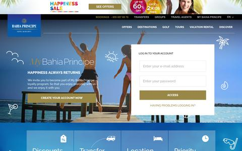Screenshot of Login Page bahia-principe.com - Bahia Principe - captured Sept. 25, 2018