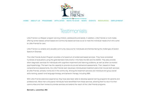 Screenshot of Testimonials Page littlefriendsinc.org - Testimonials — Little Friends, Inc. - captured July 21, 2018