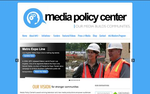 Screenshot of Home Page mediapolicycenter.org - Home - Media Policy Center - captured Oct. 6, 2014