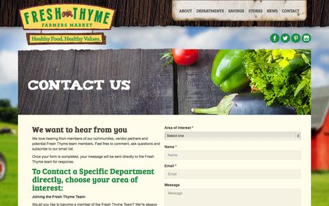 Screenshot of Contact Page freshthyme.com - News - captured Sept. 22, 2014