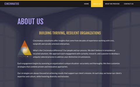 Screenshot of About Page cincinnatus.com - About Us - Cincinnatus - captured July 18, 2018