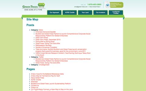Screenshot of Site Map Page green-trees.com - Site Map  |  GreenTrees - captured Oct. 3, 2014