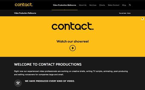 Screenshot of Home Page contactproductions.com.au - Video Production Melbourne | Contact Productions - captured Sept. 30, 2014