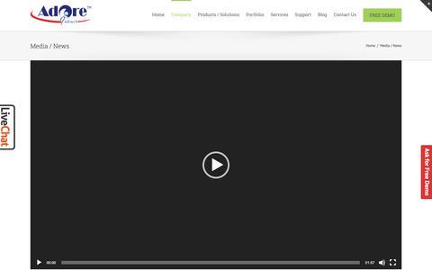Screenshot of Press Page adoreinfotech.com - Media / News | Adore Infotech - captured Nov. 7, 2018
