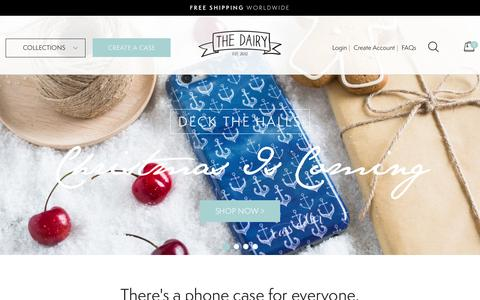 Screenshot of Home Page thedairy.com - Designer iPhone & Samsung Galaxy cases. Create your own custom case! – The Dairy - captured Nov. 19, 2015