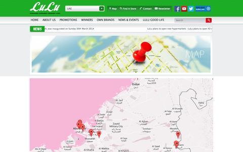 Screenshot of Maps & Directions Page luluhypermarket.com - LuLu Hypermarket | Supermarkets | Department Stores - captured Sept. 23, 2014