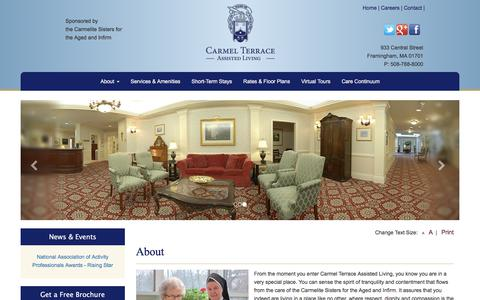 Screenshot of About Page carmelterrace.org - Carmel Terrace - Assisted Living, Senior Living, Independent Living, Framingham MA - captured July 10, 2018