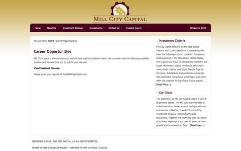 Screenshot of Jobs Page millcitycapital.com - Career Opportunities -- Mill City Capital - captured Oct. 7, 2014