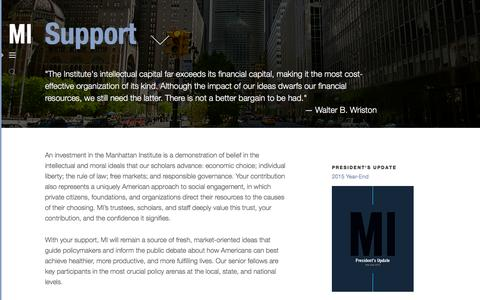 Screenshot of Support Page manhattan-institute.org - Support | Manhattan Institute - captured Jan. 20, 2016