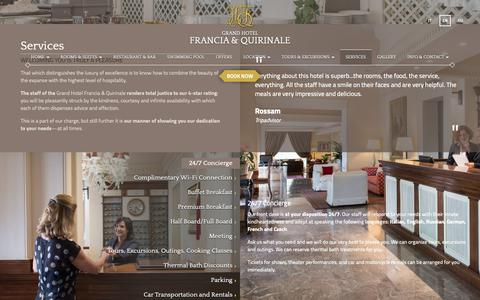Screenshot of Services Page franciaequirinale.it - Luxury Hotel Montecatini Terme - Hotel Francia & Quirinale - captured Sept. 30, 2018