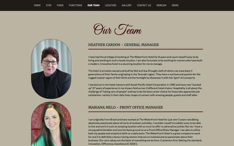 Screenshot of Team Page waterfront.co.nz - The Waterfront Hotel – Luxury Accommodation - Our Team - captured Feb. 13, 2016