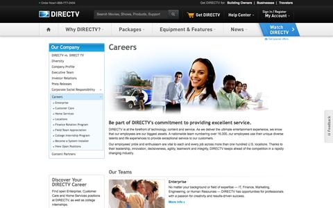 Screenshot of Jobs Page directv.com - Career Opportunities - Work at DIRECTV - DIRECTV Careers - captured Sept. 19, 2014