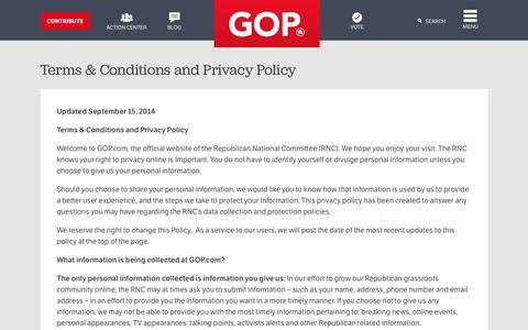 Screenshot of About Page Privacy Page gop.com - Privacy Policy | GOP - captured April 9, 2018
