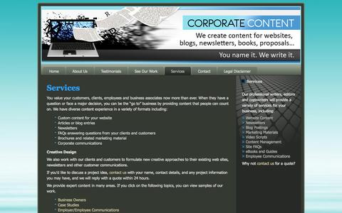 Screenshot of Services Page corporatecontent.com - Corporate Content - Services | We create content for websites, blogs, newsletters, books, proposals... - captured Oct. 3, 2014