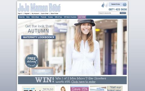 Screenshot of Home Page jojomamanbebe.co.uk - Maternity Clothes, Baby Clothes & Nursery Products | JoJo Maman Bebe - captured Sept. 24, 2014