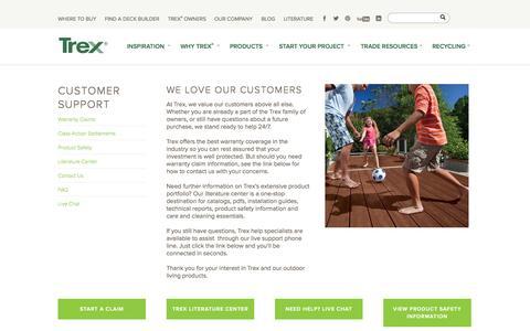 Screenshot of Support Page trex.com - Customer Support - captured Sept. 23, 2014
