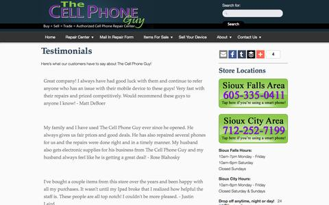 Screenshot of Testimonials Page cell-phone-guy.com - Testimonials | The Cell Phone Guy - captured June 28, 2016