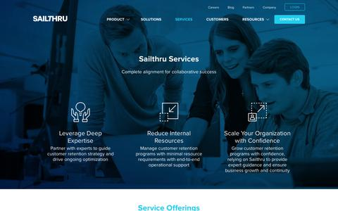 Screenshot of Services Page sailthru.com - Services | Sailthru - captured April 15, 2016