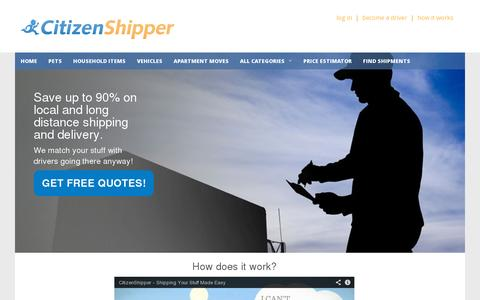 Screenshot of Home Page citizenshipper.com - Cheap Shipping - Find the Lowest Shipping Rates and SAVE - captured July 11, 2014