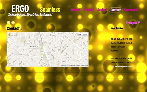 Screenshot of Contact Page ergoteks.com - Seamless Manufacturer - captured Oct. 1, 2014