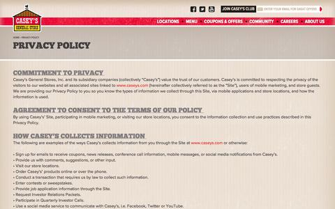 Screenshot of Privacy Page caseys.com - Privacy Policy | Casey's General Store - captured Oct. 28, 2014