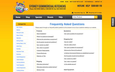 Screenshot of FAQ Page sydneycommercialkitchens.com.au - Frequently Asked Questions | Sydney Commercial Kitchens - captured Nov. 2, 2014