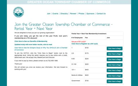 Screenshot of Signup Page gotcc.org - Join the Greater Ocean Township Chamber of Commerce - Partial Year + Next Year - Greater Ocean Township Chamber of Commerce - captured Oct. 31, 2018
