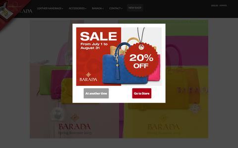 Screenshot of Home Page baradabags.com - Leather Handbags and Leather Goods - Barada Spring Summer 2015 - captured Sept. 4, 2015