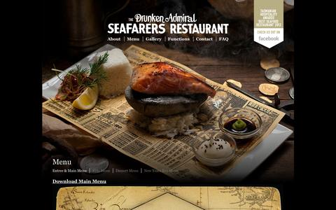 Screenshot of Menu Page drunkenadmiral.com.au - Menu - Drunken Admiral | Seafood Restaurant | Hobart - captured Oct. 5, 2014