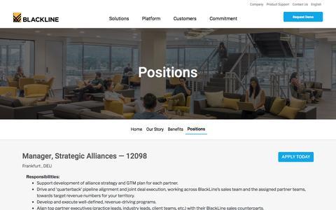 Screenshot of Jobs Page blackline.com - Manager, Strategic Alliances| Frankfurt, Germany - captured Nov. 29, 2019
