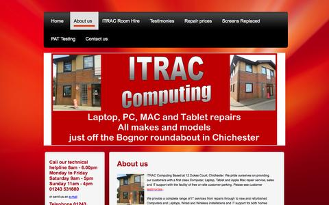 Screenshot of About Page itrac-computing.co.uk - IT repairs from laptop and Tablet screen replacements, computer repairs, new and refurbished systems, wired and wireless network installation, IT on-site support - captured Sept. 30, 2014