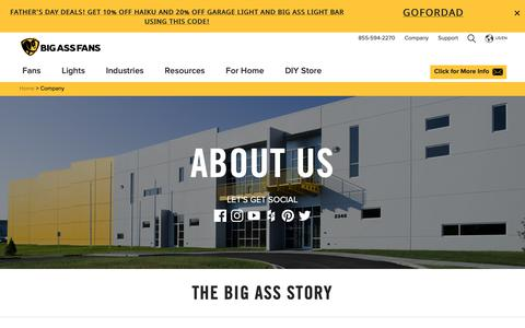 """Screenshot of About Page bigassfans.com - All About Big Ass Fans. Our History and What Makes us """"Big Ass"""" - captured June 14, 2019"""