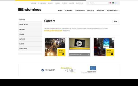 Screenshot of Jobs Page endomines.com - Careers - Endomines AB - captured Oct. 2, 2014