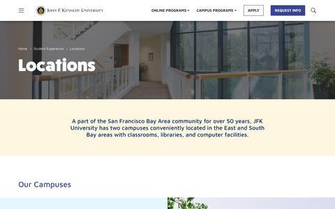 Screenshot of Locations Page jfku.edu - Locations - John F. Kennedy University - captured Oct. 14, 2018