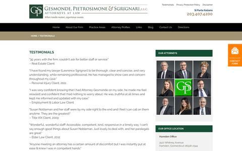 Screenshot of Testimonials Page gpsp.com - Testimonials | Gesmonde, Pietrosimone & Sgrignari, L.L.C. - captured Sept. 25, 2018