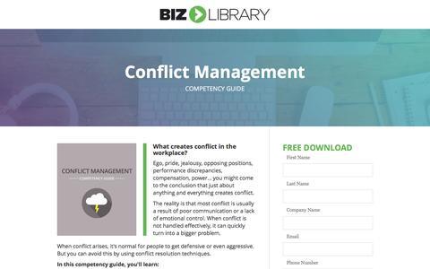 Screenshot of Landing Page bizlibrary.com - Conflict Management [Competency Guide] - captured Feb. 7, 2017