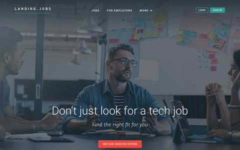 Screenshot of Home Page landing.jobs - Landing.jobs - Tech jobs marketplace with curated job offers and referral rewards - captured Oct. 21, 2015