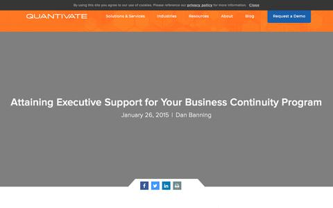 Screenshot of Support Page quantivate.com - Attaining Executive Support for Your Business Continuity Program | Quantivate - captured Dec. 3, 2019