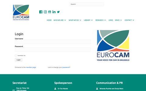 Screenshot of Login Page cam-europe.eu - login - Eurocam - captured Nov. 29, 2018