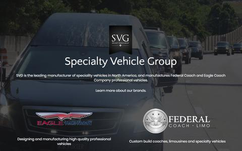 Screenshot of Home Page svgvehicles.com - SVG - Specialty Vehicle Group Eagle Coach Sales Federal Coach Limo - captured July 25, 2018