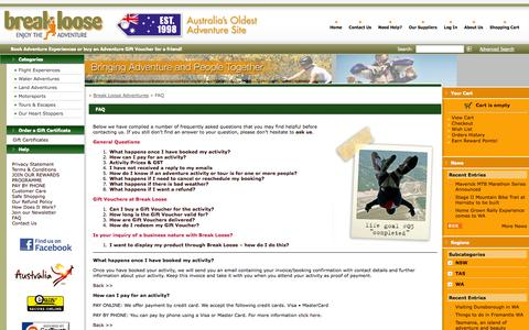 Screenshot of FAQ Page breakloose.com.au - FAQ for Break Loose Adventure Experiences Booking Facility | Book adventure experiences online - captured Oct. 5, 2014
