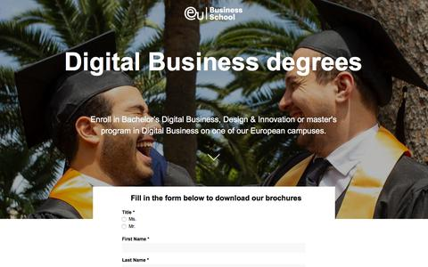 Screenshot of Landing Page euruni.edu - EU Business School - MBA in Design E-Business and Digital Media degrees - captured Sept. 19, 2018