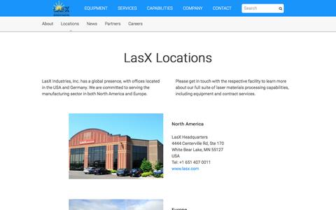 Screenshot of Locations Page lasx.com - Locations - North America and Europe | LasX Industries - captured Jan. 26, 2016