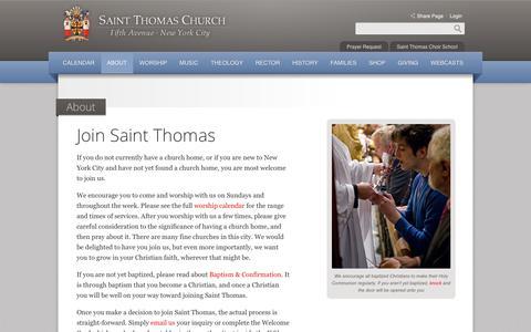 Screenshot of Signup Page saintthomaschurch.org - Join Saint Thomas | About | Saint Thomas Church - captured Nov. 12, 2018