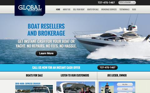 Screenshot of Home Page globalmarineboats.com - Florida Wholesaler Boat & Yacht Liquidator: St Pete, Clearwater - captured May 19, 2017