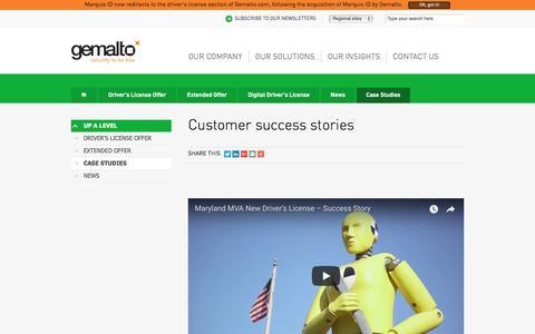 Screenshot of Case Studies Page gemalto.com - Customer success stories - captured July 9, 2018