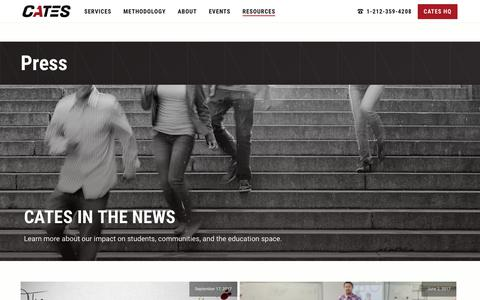 Screenshot of Press Page catestutoring.com - Press & Media   CATES Tutoring - captured Sept. 25, 2018